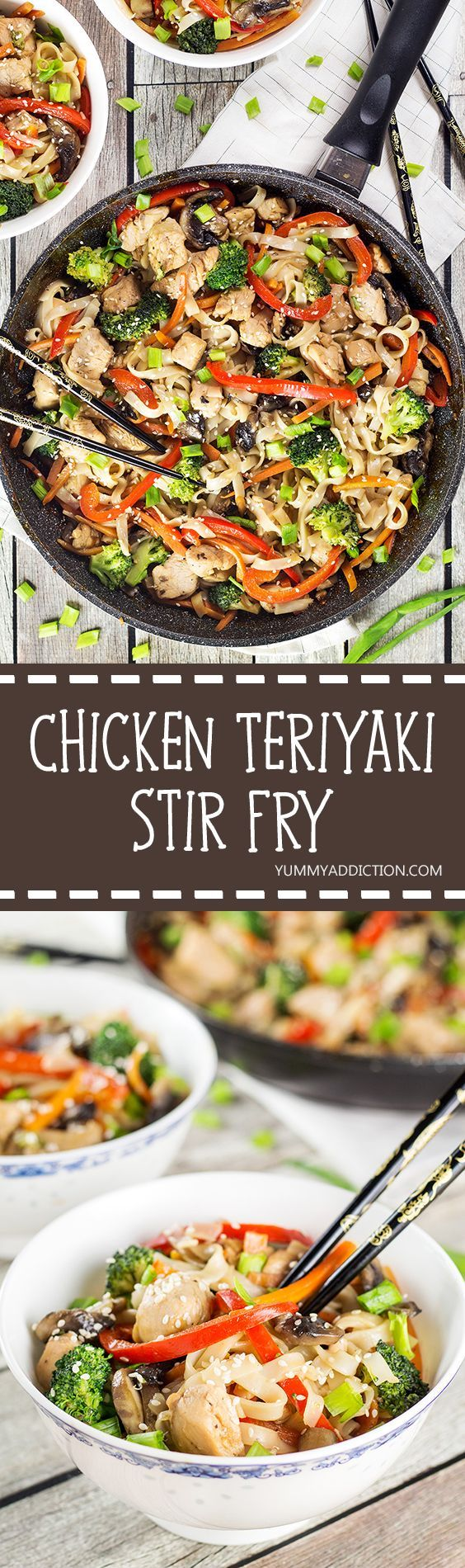 This Chicken Teriyaki Stir Fry makes a perfect quick & easy meal. The flavorful chicken is complemented by the delicate rice noodles and lots of veggies!   yummyaddiction.com