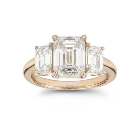 Rose Gold Emerald Cut Diamond Three Stone Engagement Ring