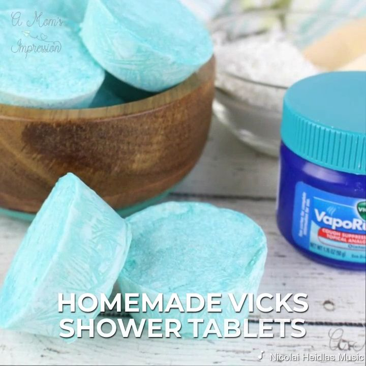 Make your own homemade Vicks shower tablets! This recipe is without citric acid and uses vapor rub giving your shower the eucalyptus smell to soothe.