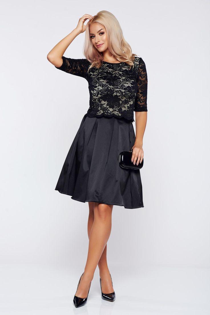 Comanda online, Set StarShinerS negru elegant din material dantelat si material satinat. Articole masurate, calitate garantata!