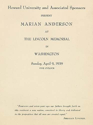 program cover for the april 9 1939 lincoln memorial concert presented by contralto marian