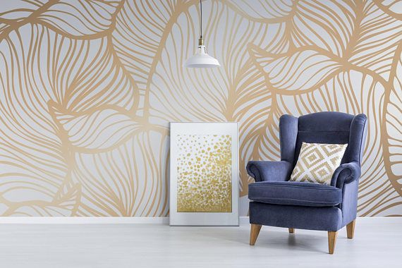 Golden Leaves Removable Wallpaper Wall2stick Room Wallpaper Designs Turquoise Wallpaper Wallpaper Designs For Walls