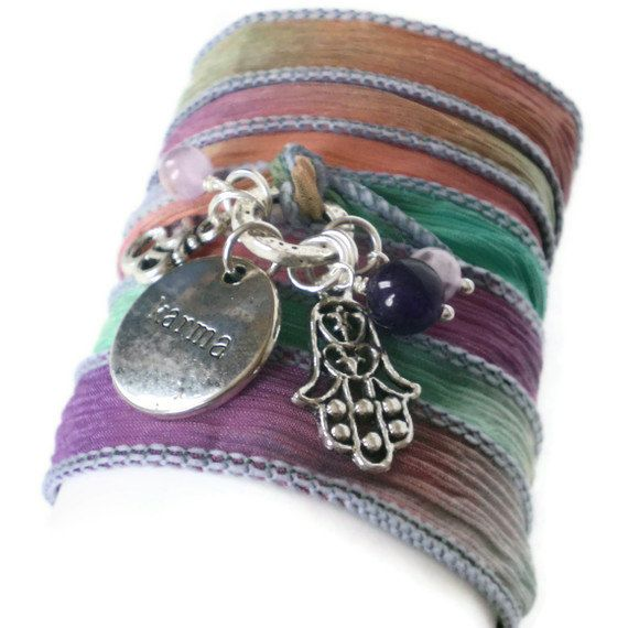 silk ribbon wrap bracelet yoga inspired wrap karma by jcudesigns, £12.00