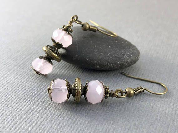 Pink Brass Earrings Boho Bohemian Earrings Pink Jade Gemstone Earrings Drop Earrings Gift for Women Dangle Earrings Rustic Metal Earrings
