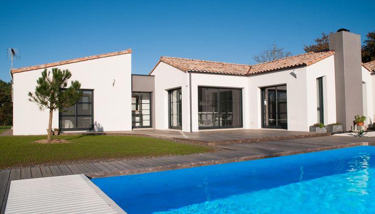Maison avec piscine - Architecture contemporaine - Constructeur - Réalisation Maisons d'en France Atlantique