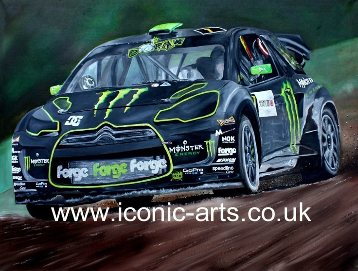 #liamdoran monster energy Rallycross ds3 lydden hill Citroën original oil on canvas