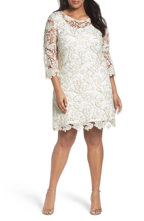Main Image - Marina Bell Sleeve Lace Shift Dress (Plus Size)