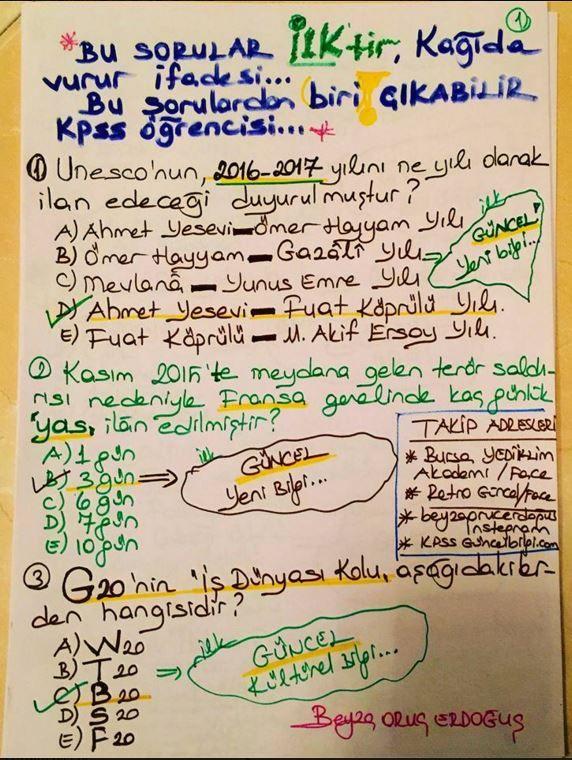 Yediiklim Akademi'nin sevilen hocalarından Beyza Hoca'nın hazırlamış olduğu güncel bilgi soruları'na muhakkak göz atmanızı tavsiye ederiz. 2016 kpss çıkabilecek güncel bilgi soruları ders notunu sizlerle paylaşıyoruz. Bilindiği üzere ÖSYM artık Güncel bilgilere daha çok değer veriyor. Zira Eskiden 3 Olan Güncel Bilgiler sorusunun 6 Soruya çıkarılması da bunun en büyük göstergesi. İşte O Sorular