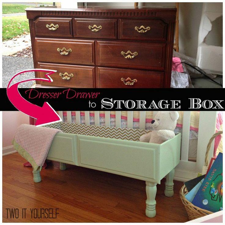 Transform an old dresser drawer into easy instant storage.