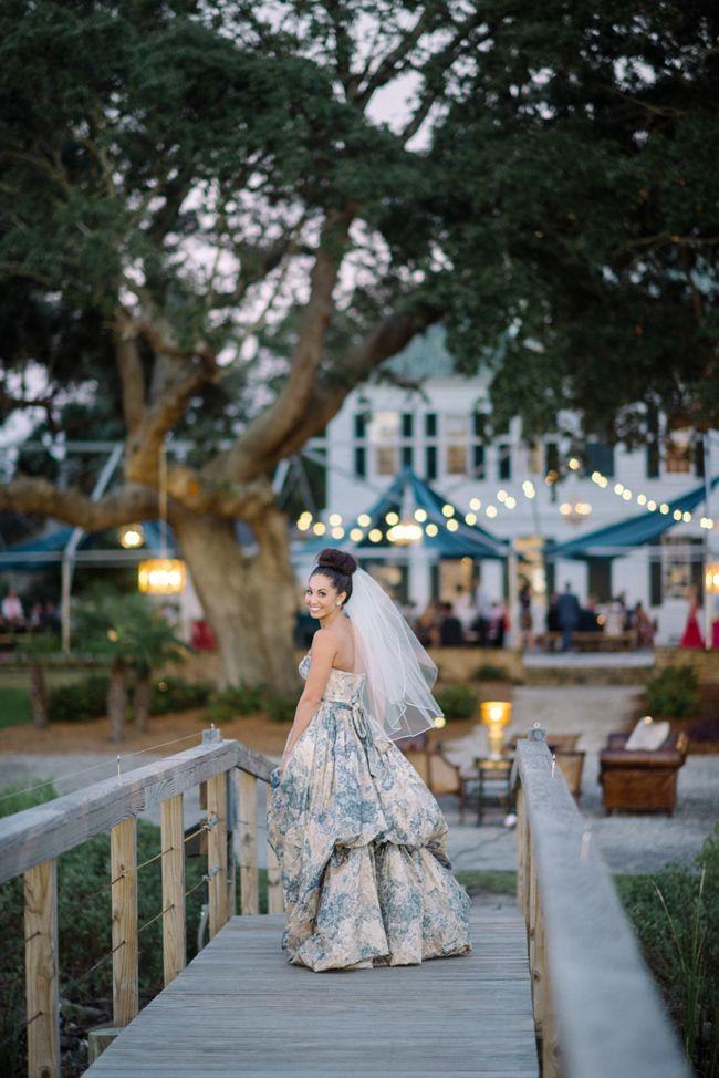 Chic Lowndes Grove Wedding with a blue wedding gown I Sean Money + Elizabeth Fay