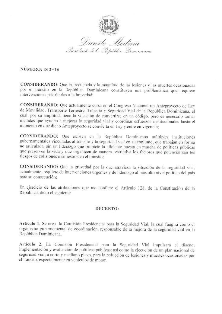 Decreto 263-16 que crea la Comisión Presidencial para la Seguridad Vial