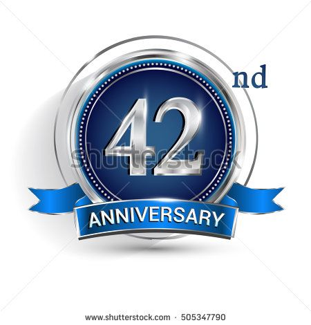 Celebrating 42nd anniversary logo, with silver ring and blue ribbon isolated on white background.