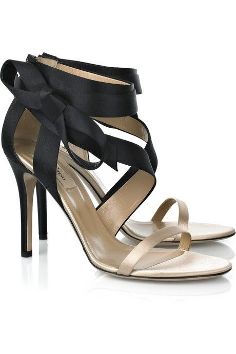 Valentino Bow Detail Satin Sandals on @ClozetteCo