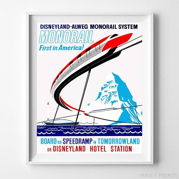 Disneyland Monorail System Tomorrowland Home Decor Poster - Prices from $9.95 - Click Photo for Details - #disneyland#disneyfan#disneyattractions#babyroomdecor#vintage#MonorailSystem #Tomorrowland