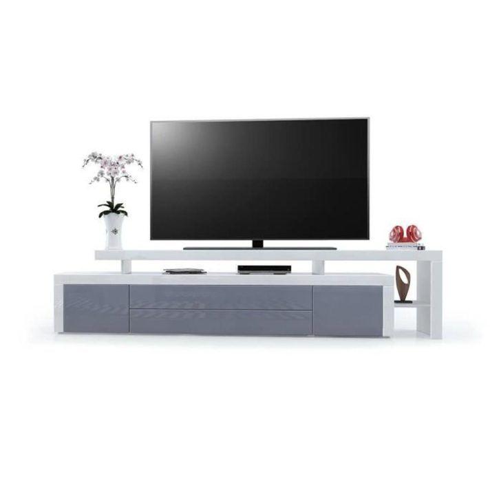 Interior Design Meuble De Tv Meuble Tv Blanc Gris Laque Cm