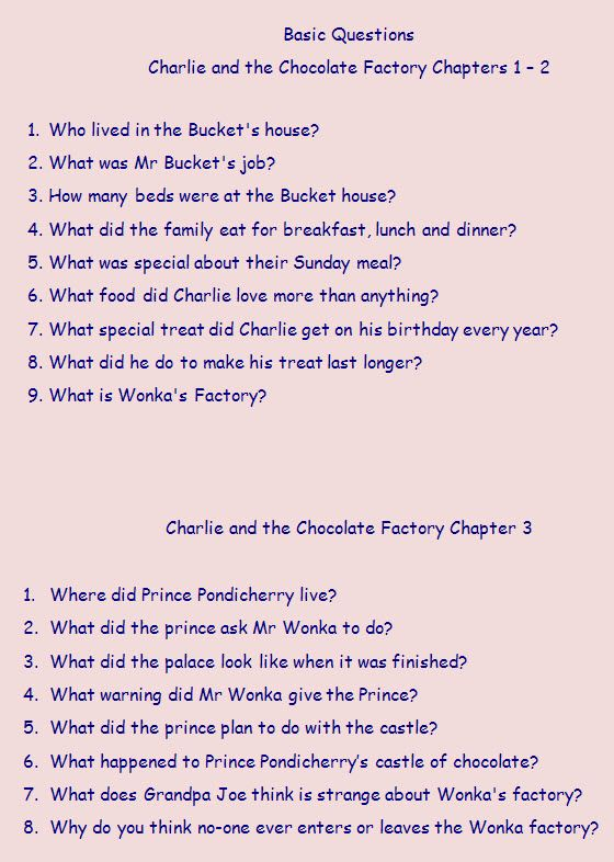 Chapter-by-chapter questions on Charlie and the Chocolate Factory - ideal for a comprehension task.