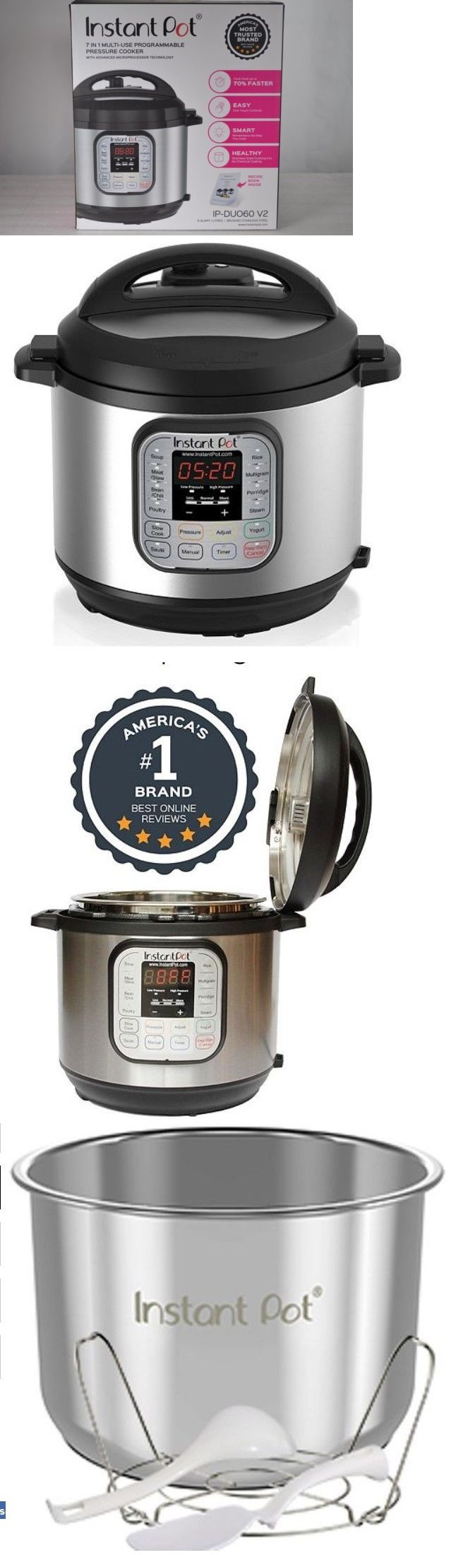 Cookers and Steamers 20672: Instant Pot Ip-Duo60 V2 Programmable Electric Pressure Cooker, 6Qt, 7 In1 Cooker -> BUY IT NOW ONLY: $64.99 on eBay!