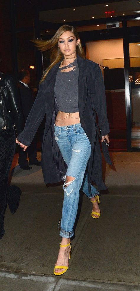 Gigi Hadid can make anything look sexy, even boyfriend jeans.