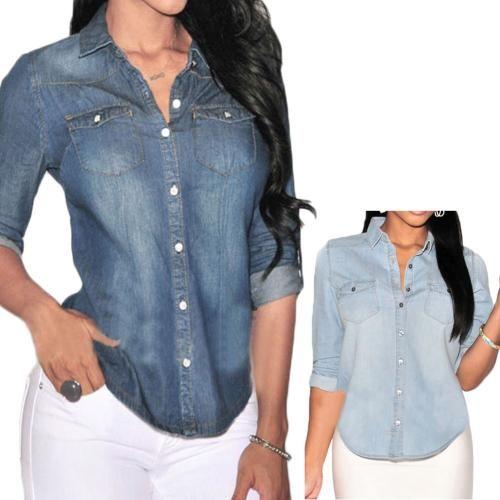 Women Casual Pocket Denim Button Down Stand Collar Long Sleeve Blouse Top Shirt
