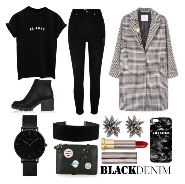 """""""Black is my color"""" by hanahraa on Polyvore featuring MANGO, River Island, CLUSE, Georgine, Topshop, Alexis Bittar, Urban Decay and Mr. Gugu & Miss Go"""