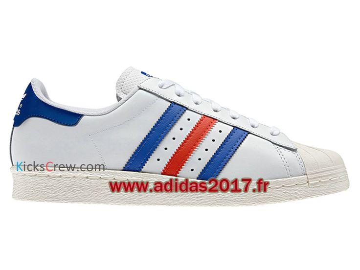outlet store 24e72 45731 ... coupon code adidas superstar 80s chaussure adidas originals pas cher  pour homme femme blanc bleu rouge