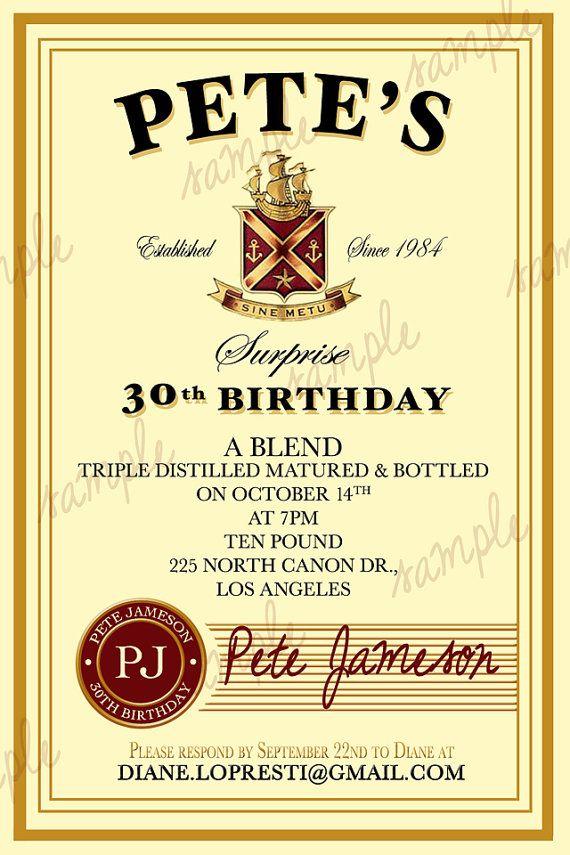 Custom Jameson Irish Whiskey Label Birthday by CutesyCustomDesigns, $13.00