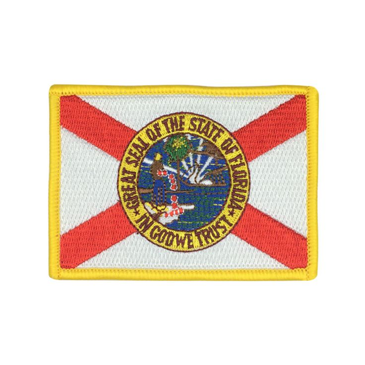 State of Florida Flag Patch US Embroidered Patch Gold Border Iron On patch Sew on Patch badge Patch meet you on www.Fleckenworld.com