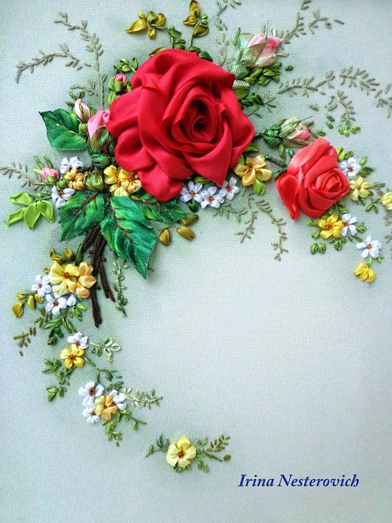 Embroidered picture  Silk ribbon embroidery flowers