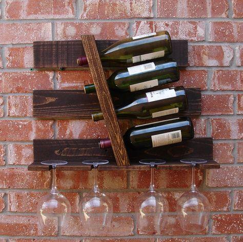 Géométrique parallèle 4 bouteille casier à vin avec par KeoDecor