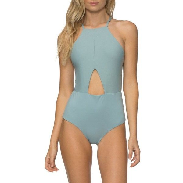 Women's Tavik Lela One-Piece Swimsuit (£115) ❤ liked on Polyvore featuring swimwear, one-piece swimsuits, dusty blue rib, tavik swimwear, cutout one-piece swimwear, cut out 1 piece swimsuits, one piece bathing suits and cut out bathing suit