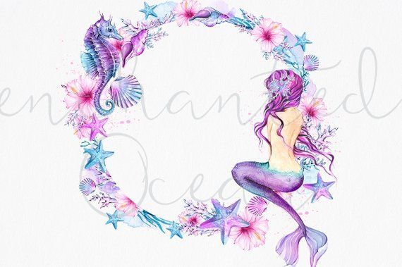mermaid clipart watercolor sea underwater illustration