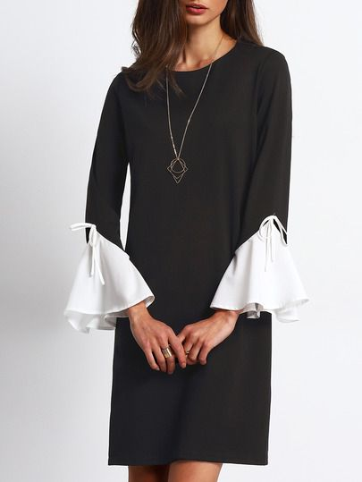 Black White Bell Sleeve Zipper Back Shift Dress