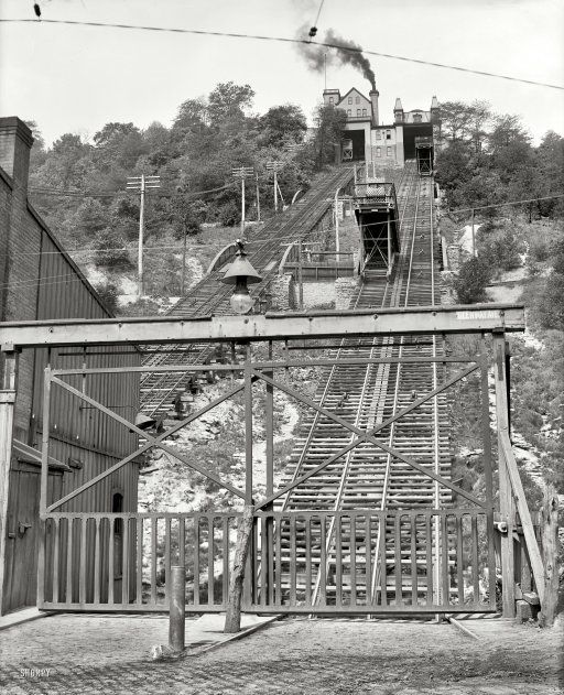 """""""Price Hill Incline."""" Part of the Cincinnati streetcar and freight elevator system circa 1906."""