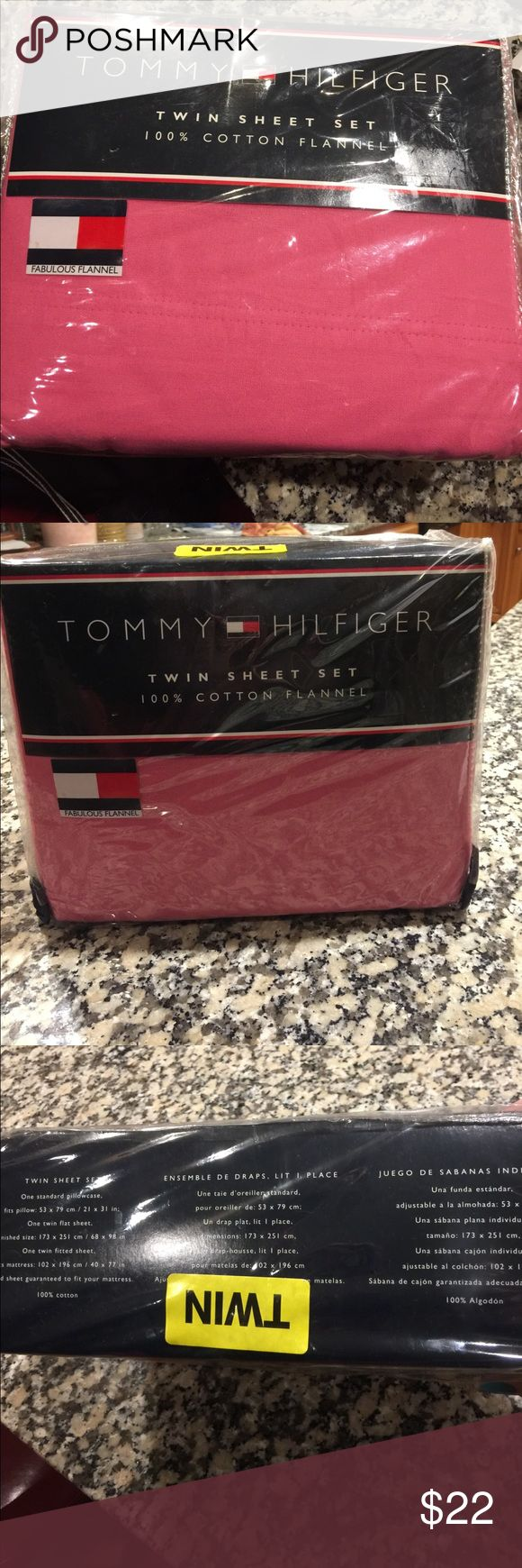 "Tommy Hilfiger Twin sheets NWOT 100% cotton flannel cotton twin sheet set, Pink One standard pillowcase, fits pillow 21 x 31"", one twin flat sheet 68 x 98"", one twin fitted sheet 40 x 77"" Tommy Hilfiger Other"