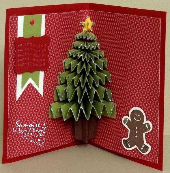 Carte de voeux avec sapin pop up diy paper tree card - Carte de voeux pop up ...