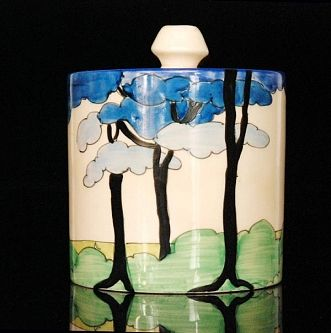 Clarice Cliff - Blue Firs - A drum preserve circa 1933,                                                                                                                                                                                 More