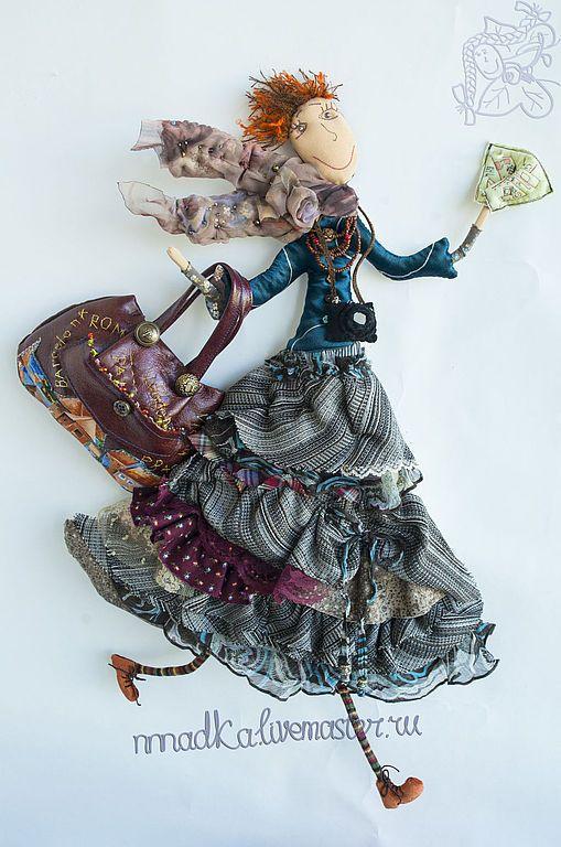 Купить галопом по Европам - коричневый, путешествие, путешественница, кукла, текстильная кукла, европа, nnnadka