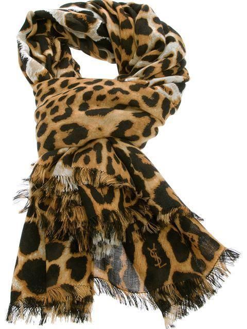 Saint-Laurent large leopard print scarf