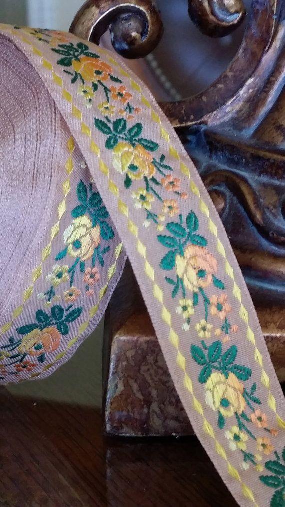 344-09 Vintage Mauve Taupe Woven Jacquard ribbon by VintageRibbons