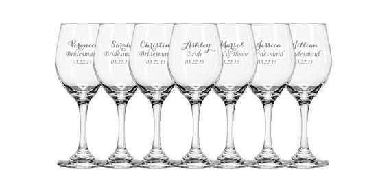 Bridesmaid Wine Glass, Gift for Bridesmaids, Personalized Wine Glasses, Bridesmaid Gift Idea, Personalized Bridesmaid Gift, Wedding Glasses on Etsy, $63.00