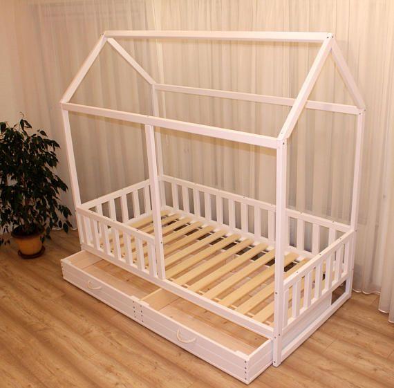 Girls Kids Childrens Wooden Nursery Bedroom Furniture Toy: Painted Toddler Bed, Children Bed, Montessori Bed, Kid Bed