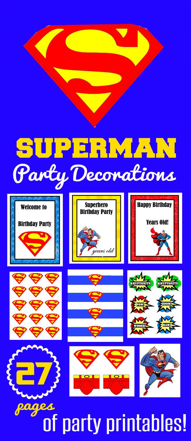 27 Pages of Superman Birthday Party Decorations at HappyandBlessedHome.com