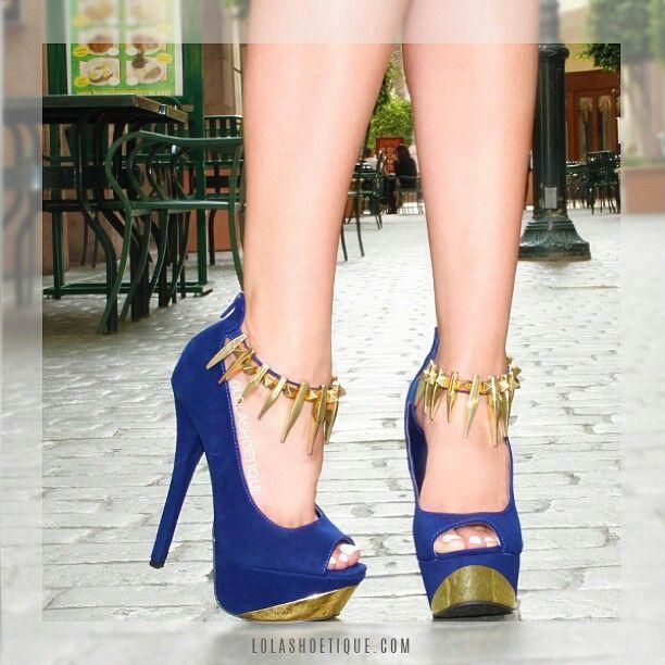 Blue/gold glam heels | ♚KillR Heels♚ | Pinterest | Heels