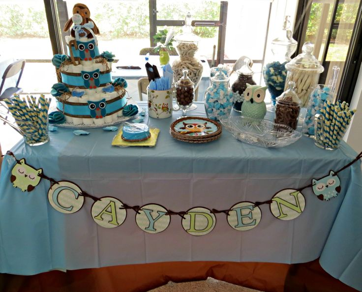 Candy Bar, Baby Boy Shower, Diaper Cake.  Owl Themed, by Sweet Moments Custom Made Diaper Cakes by Maria.  For More info LIKE my business page on Facebook