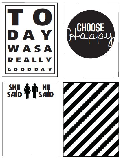 Free Black and White Journal Cards (there is also a version in color)