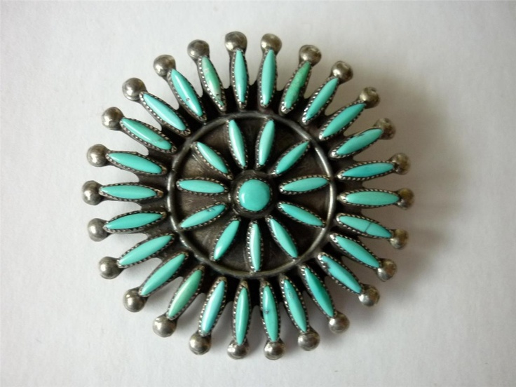 Vintage Zuni Sharon Hustito Turquoise Petit Point Brooch Sterling Silver