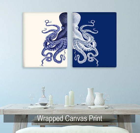 Bathroom Decor 2 Octopus Prints NAVY Blue /Cream Nautical