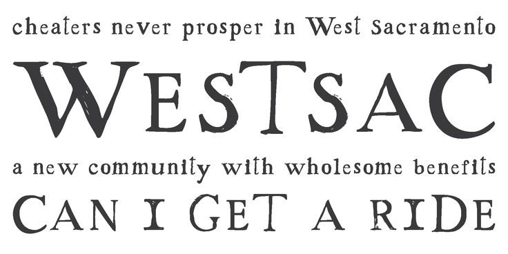 Westsac, a perky little Roman-influenced free font. Free from Chank Fonts
