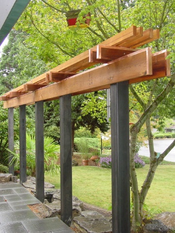 69 best images about pergolas on pinterest gardens for Steel and wood pergola