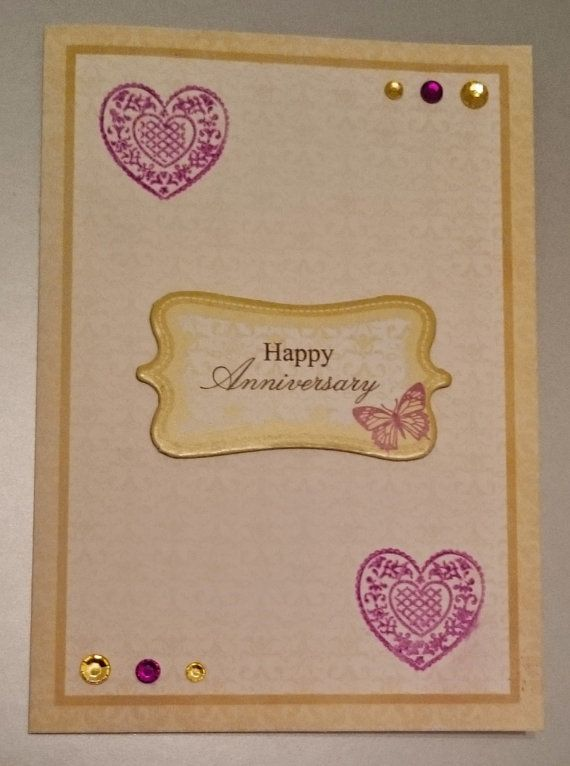 Handmade C6 Greeting Card  Anniversary by BavsCrafts on Etsy